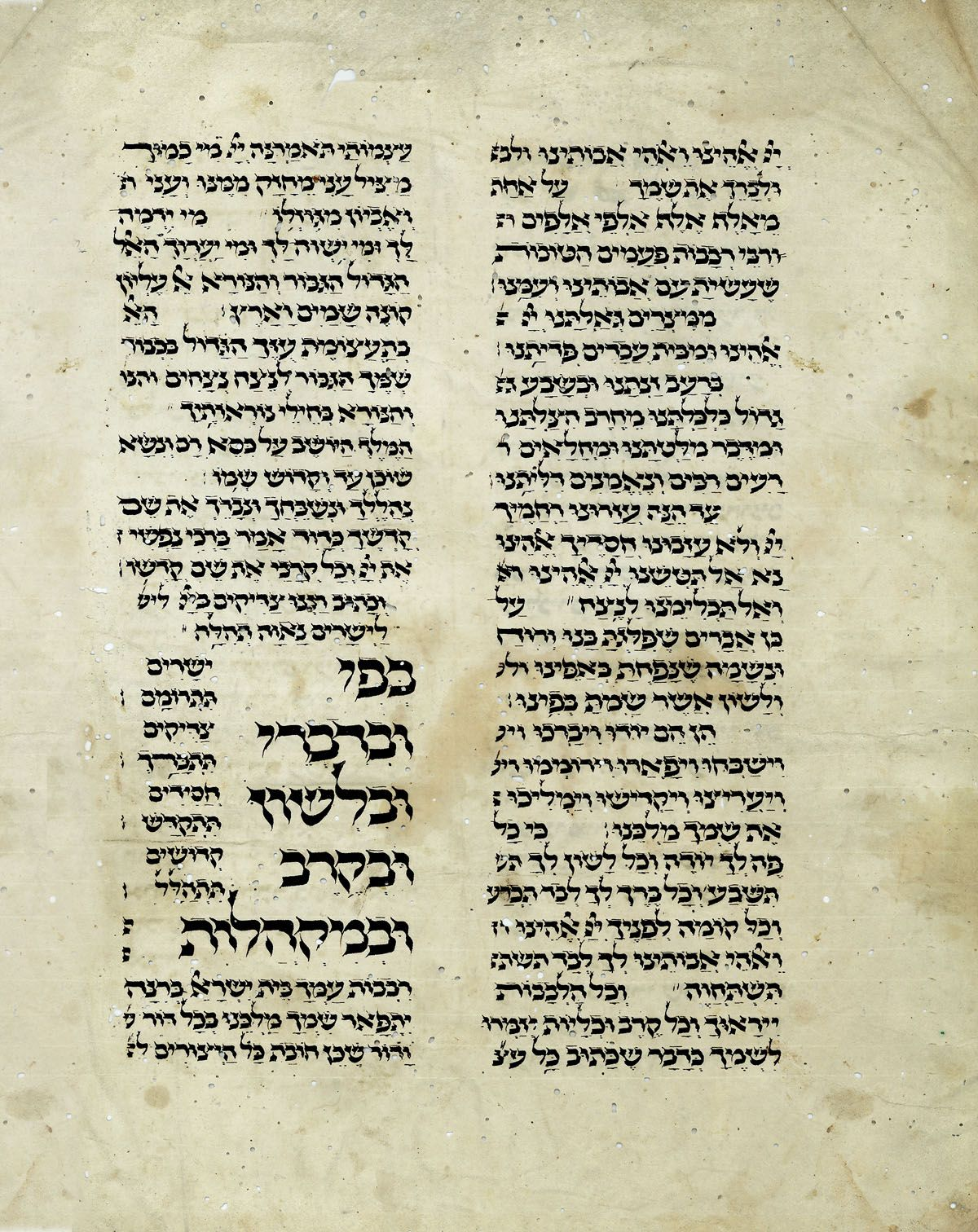 "Sabbath/Festival prayers leading up to ""Borchu."" Single manuscript vellum leaf in Hebrew with Nikud"