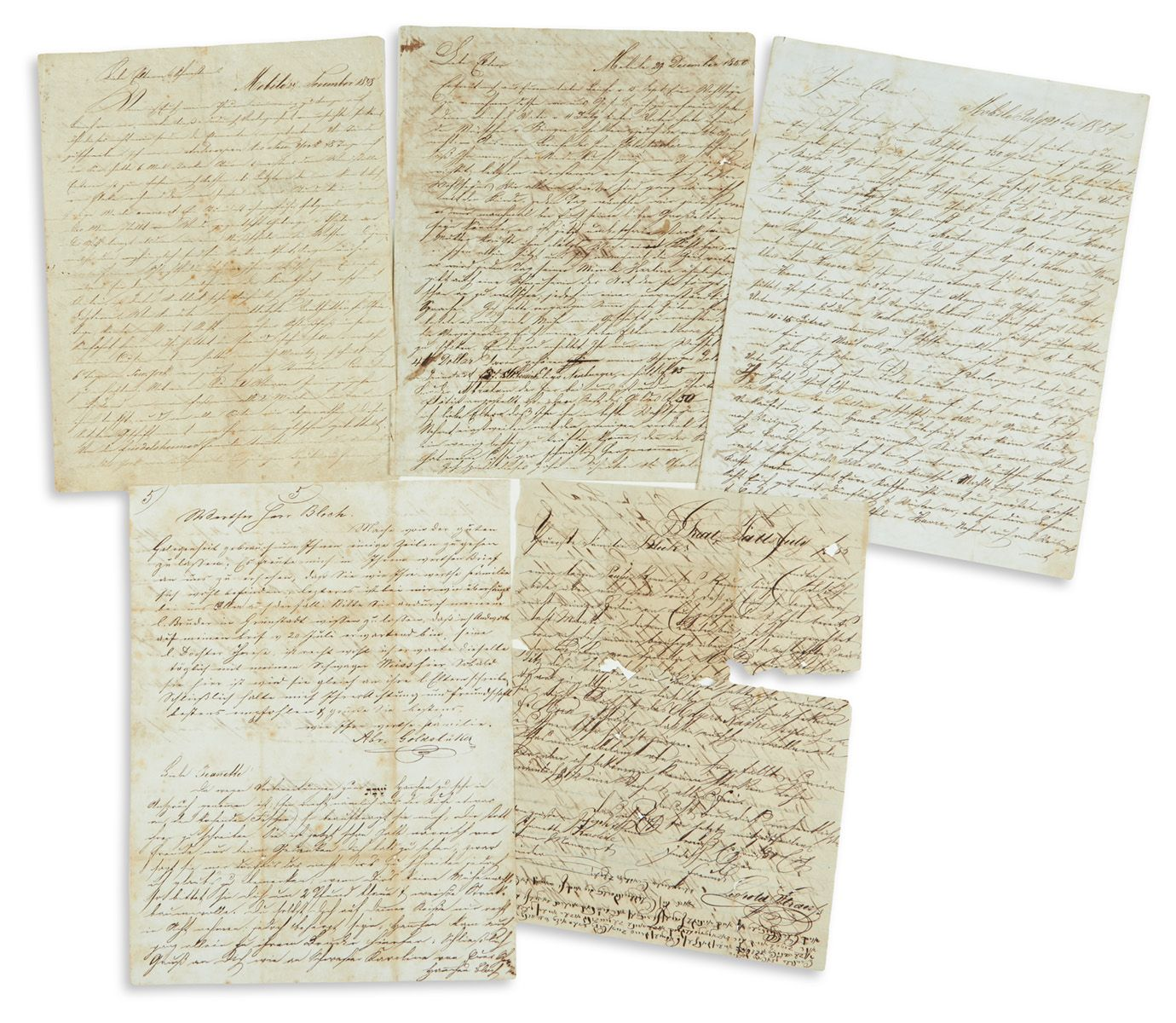 Group of seven <<Autograph Letters >>from immigrants to the United States