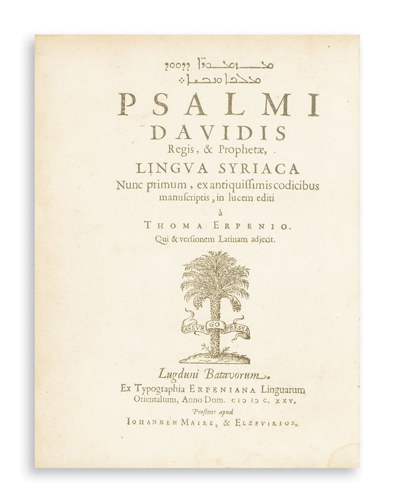 Syriac and Latin. Psalms). Psalmi Davidis. Edited by Thomas Erpenius.
