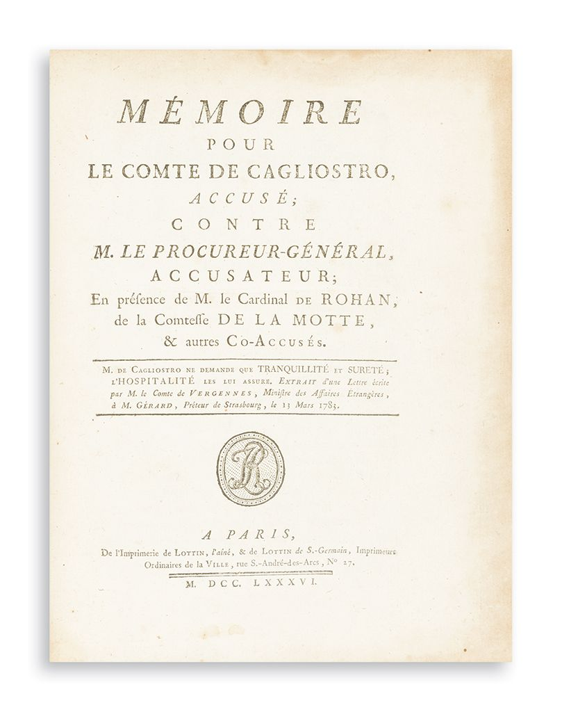 Collection of 26 pamphlets relating to the trials of the main protagonists of The Diamond Necklace Affair
