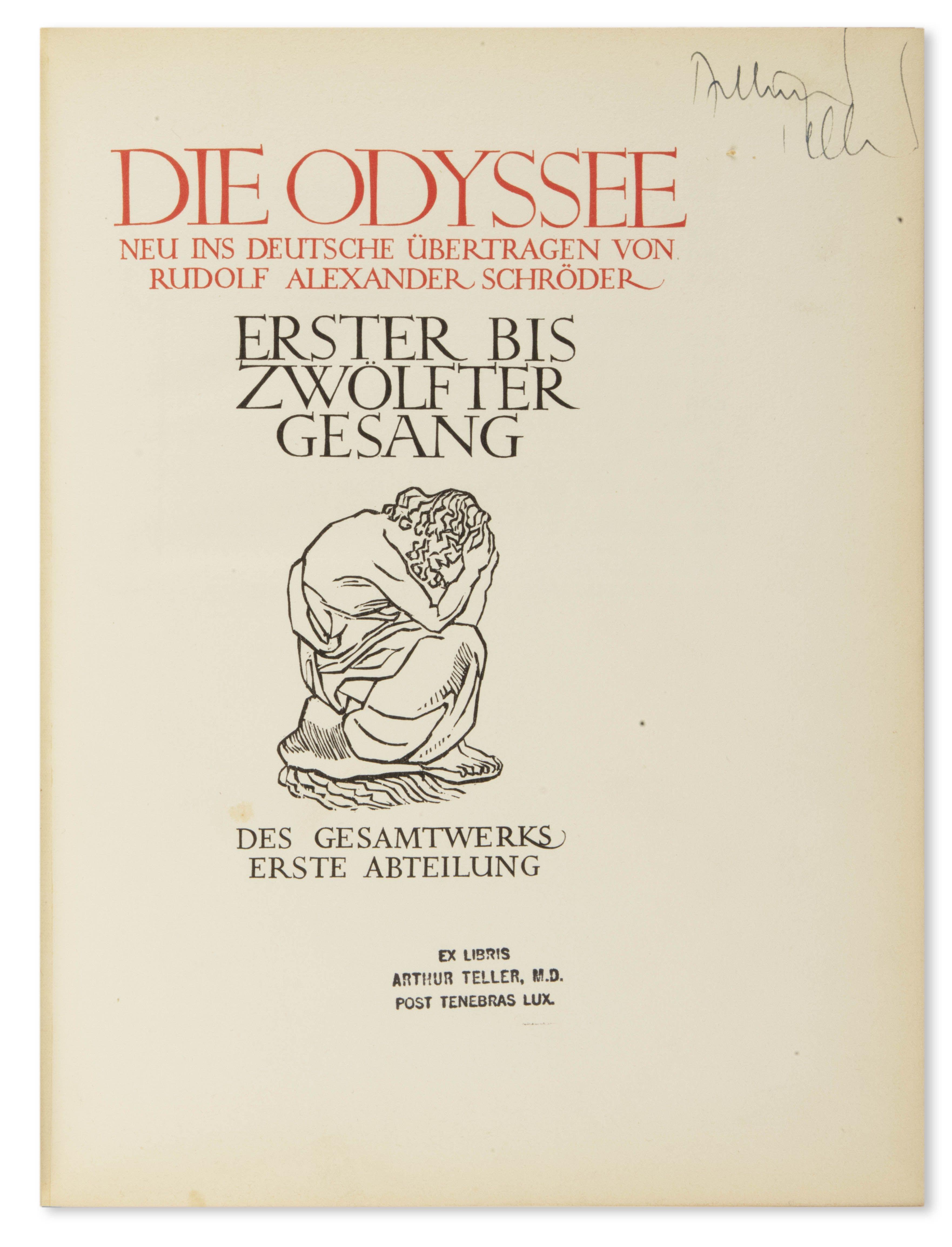 Die Odyssee. Neu ins Deutsche übertragen von Rudolf Alexander Schröder.