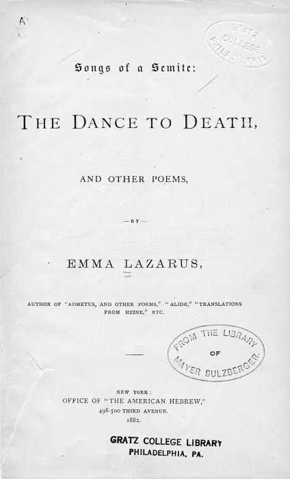 Lazarus Emma Songs Of A Semite The Dance To Death And