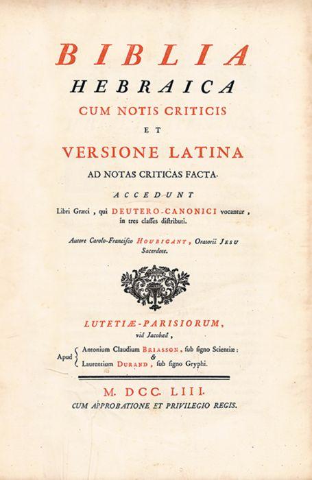 Biblia Hebraica  Hebrew (without nekudoth) and Latin  Edited