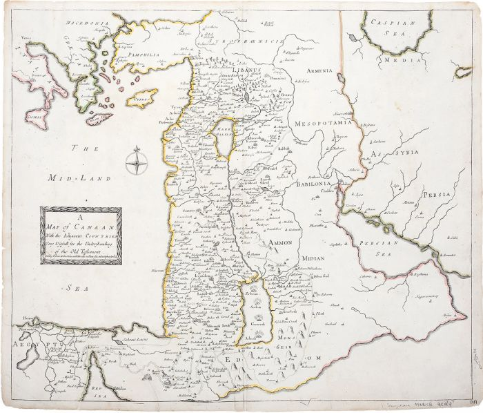 """A Map of Canaan with the Adjacent Countrie's, Very Usefull for the  Understanding of the Old Testament."""" Hand-colored copperplate map and  itinerarium."""