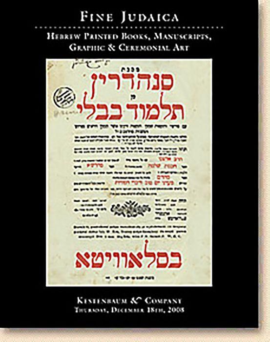 Fine Judaica: Hebrew Printed Books, Manuscripts, Graphic