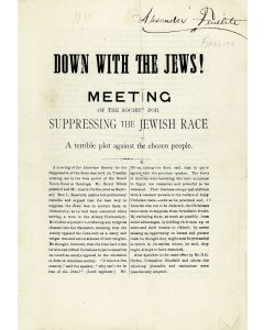 Marks, Harry H. Down with the Jews! Meeting of the Society for Suppressing the Jewish Race. A Terrible Plot Against the Chosen People.