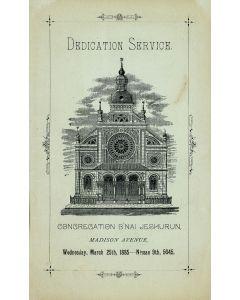 "Order of Service at the Dedication of the Synagogue of the Congregation ""B'nai Jeshurun,"""