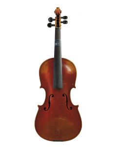 C. 1905, labeled JACOBUS STAINER…, length of two-piece back 359 mm, with case and bow.