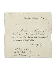 Printed Invitation to President's Day Dinner from Uriah P. Levy, R.H. Cabell, and Sam J. Fisher.