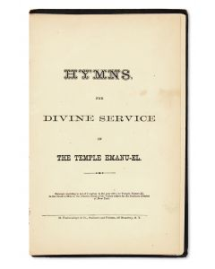 Hymns for Divine Service in the Temple Emanu-El.