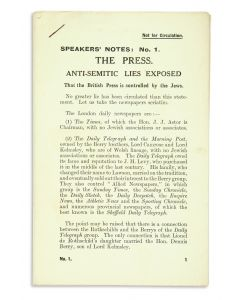 The Jewish Defence Campaign. Speakers' Notes: Anti-Semitic Lies Exposed. 21 pamphlets.  Hints for Speakers.