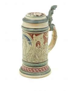 Cylindrical, off-white glazed ceramic stein with a bas-relief design with red-brown and gray coloring, curved handle with geometric decoration, lid with pewter rim, flat ceramic disc inlay, pewter thumblift and pewter mountings.