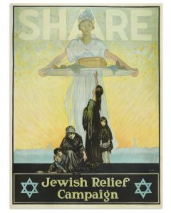 """""""Share, Jewish Relief Campaign."""" Large allegorical figure of America offering her bounty to a destitute Jewish family. Skyline of New York City including the Statue of Liberty in the background beneath an optimistic orange and yellow sky."""