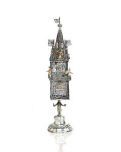 An impressive silver filigree spice container of tower form.