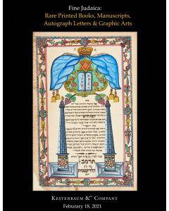 Fine Judaica: Rare Printed Books, Manuscripts, Autograph Letters & Graphic Arts