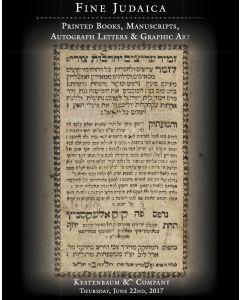 Fine Judaica: Printed Books, Manuscripts, Autograph Letters & Graphic Art