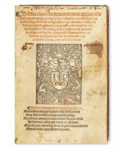 Latin). Biblia cum summariorum apparatu pleno quadruplice repertorio insignita.