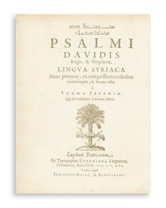 Syriac and Latin. Psalms). Psalmi Davidis. Edited by Thomas Erpenius.