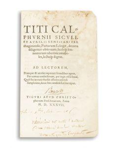 Titi Calphurnii Siculi et Aurelii Nemesiani Carthaginiensis, Poetarum Eclogae [Eclogues of Calpurnus Siculus and]