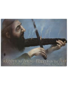 "(Film Poster). Skrzypek na dachu [""Fiddler on the Roof.""] Text in English and Polish."