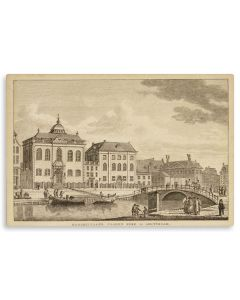"Hoogduitsche Jooden Kerke te Amsterdam. [""Synagogue of the Ashkenazic Jews in Amsterdam.""] Exterior with barge on canal in foreground."